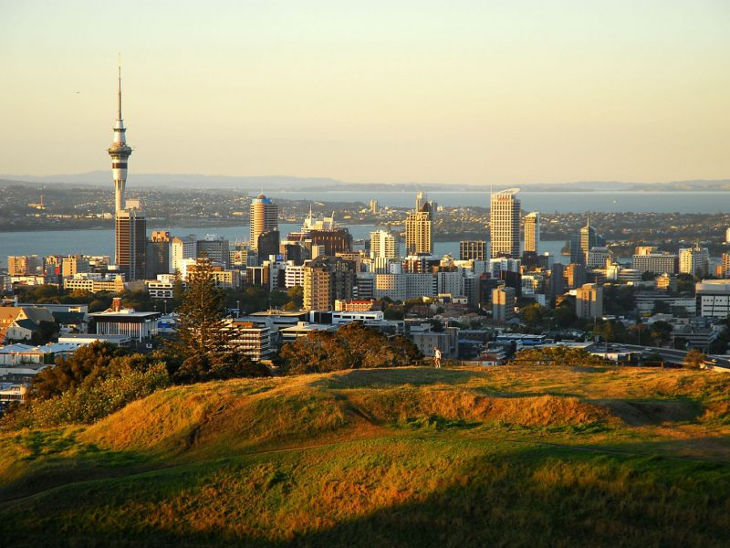 View of Auckland skyline at sunset
