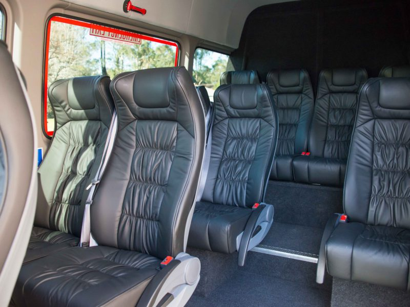 Interior shot of Mercedes Sprinter leather seats