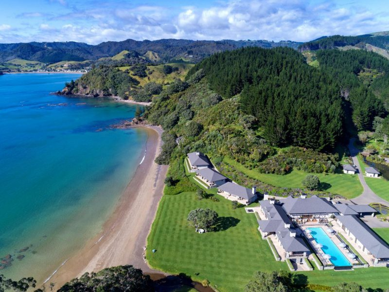 Aerial view of Helena Bay Lodge, Northland