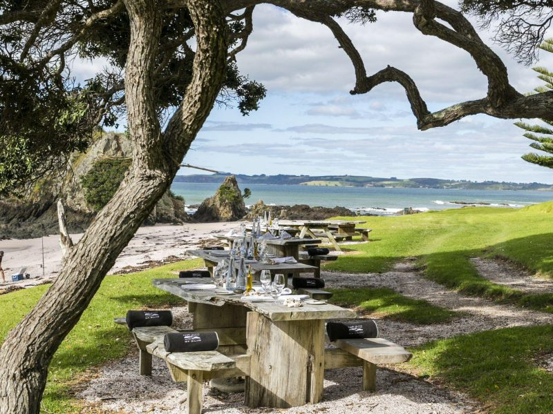 Picnic set up on tables in front of Paihia beach